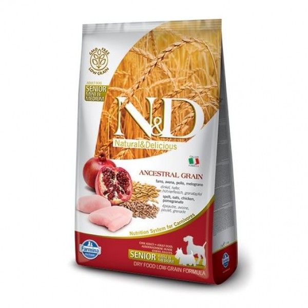 N&D Low Grain Dog Senior S/M Chicken & Pom. 2,5 kg