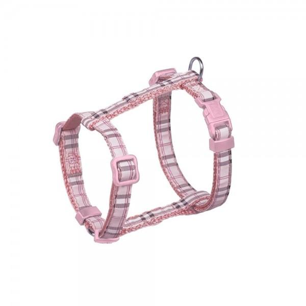 Postroj nylon Tartan - růžový Nobby 1,0 x 20-35 cm