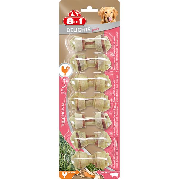 Kost žvýkací Delights Pork XS 7ks