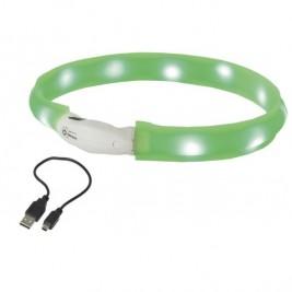 Nobby LED plochý svítící obojek pro psy zelený M 55cm