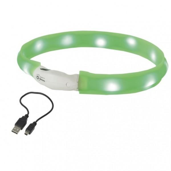 Plochý svítící LED obojek zelený M 55 cm