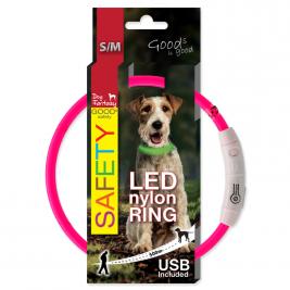 Obojek DOG FANTASY světelný USB růžový 65 cm 1ks