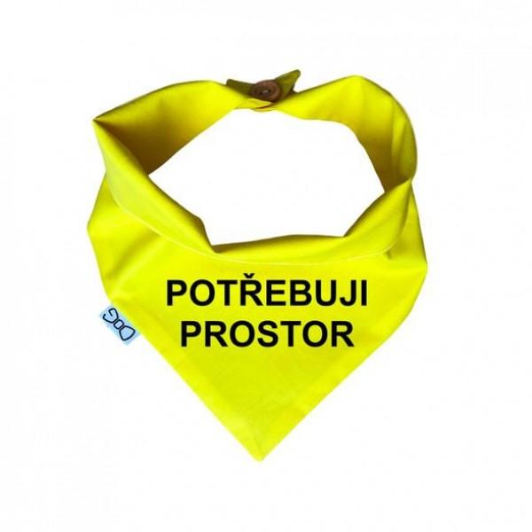 """Žlutý šátek """"Potřebuji prostor"""" vel. XL"""