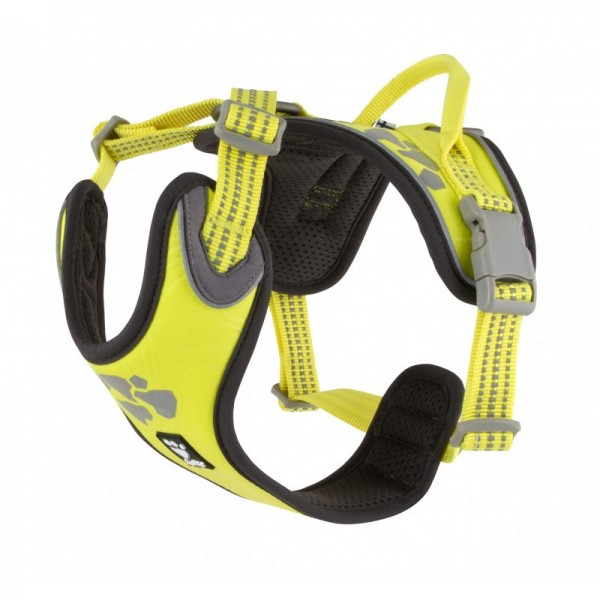 Postroj Hurtta Weekend Warrior neon citrónový 60-80 cm