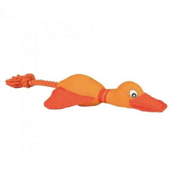 Oranžová slepice/kačena přetahovadlo se zvukem,nylon 38 cm