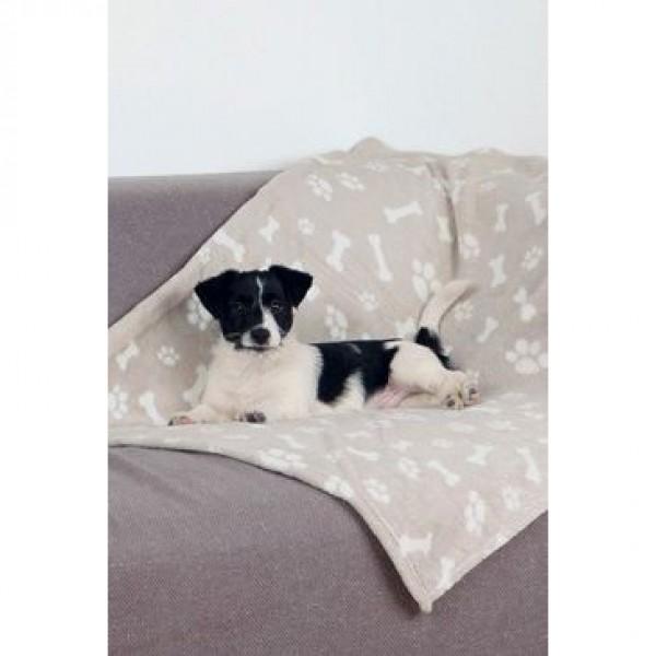 Deka pro psy KENNY béžová a kostičky 100x75cm TR