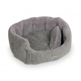 """Pelech 8 hran textil """"Ceno"""" - šedý Nobby 45 x 40 x 19 cm"""