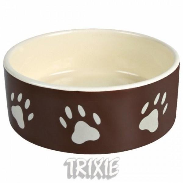 Miska keramická pes s béž.tlapkami Hnědá 1,4l 20cm TR