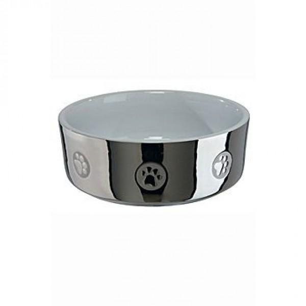 Miska keramická pes stříbrná s tlapkou 0,8l 15cm TR