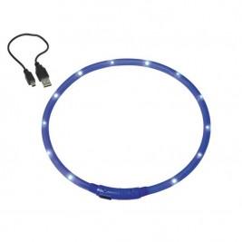 Obojek plast svítící - modrý, dobíjení USB Nobby 70 cm