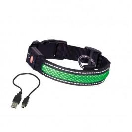 Obojek nylon svítící zelený Nobby 45-63 cm