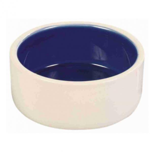 Miska keramická bílá/modrá 1 l 18 cm