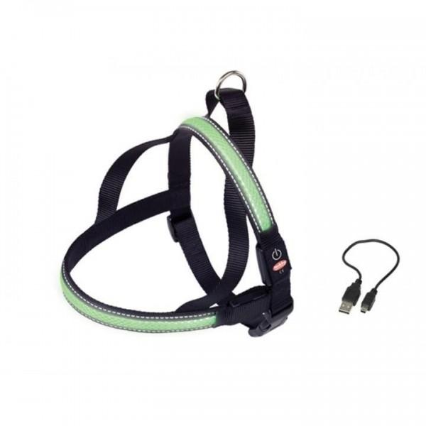 Postroj nylon svítící zelený Nobby 70-85 cm
