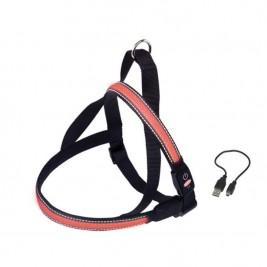 Postroj nylon svítící červený Nobby 50-65 cm