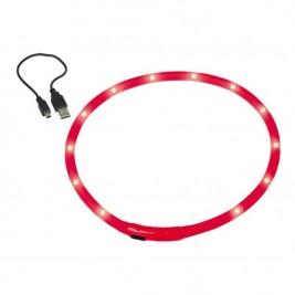 Obojek plast svítící - červený, dobíjení USB Nobby 70 cm
