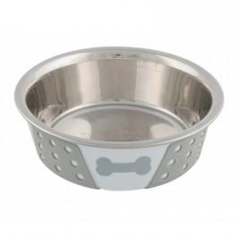 Nerezová miska se silikonovým opláštěním 0,4l/14cm bílo/šedá