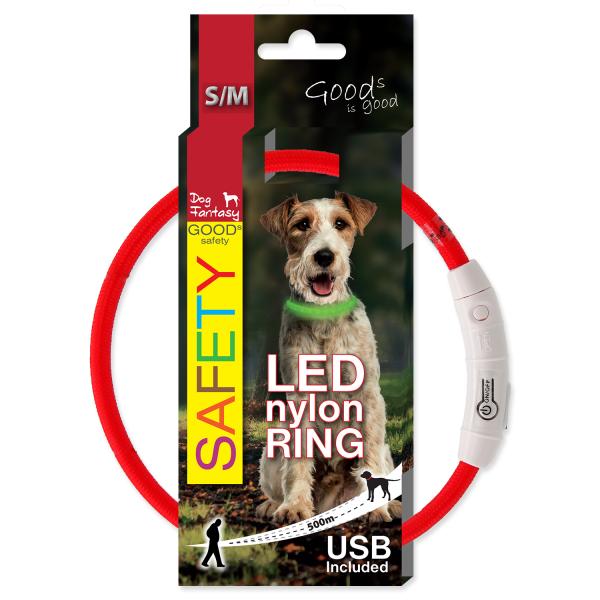 Obojek DOG FANTASY světelný USB červený 45 cm