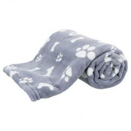 Plyšová deka KENNY, modrá s kostičkami a packami