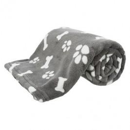 Plyšová deka KENNY, šedá s kostičkami a packami