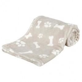 Plyšová deka KENNY, béžová s kostičkami a packami