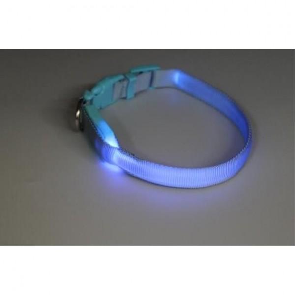 Obojek nylon svítící s plast. dutinkou modrý B&F 1,50 x 18-28 cm