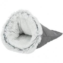 HARVEY extrahebký plyšový pytel, ø 30 × 50 cm, tmavošedá/bílá