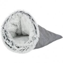HARVEY extrahebký plyšový pytel, ø 40 × 60 cm, tmavošedá/bílá