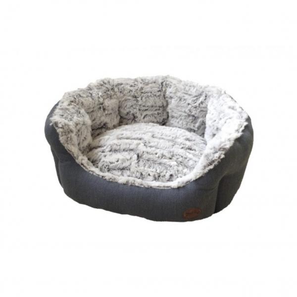 Luxusní plyšový pelíšek CACHO šedý oválný 86x70x24 cm