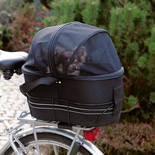 Přepravka na zadní nosič kola pro psa,kryt síťovina 48x29x42