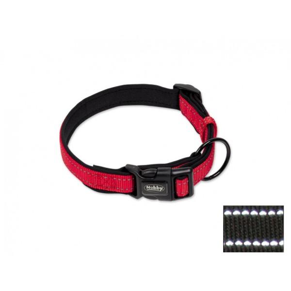 Obojek neopren Classic reflect soft 20-30 cm červený