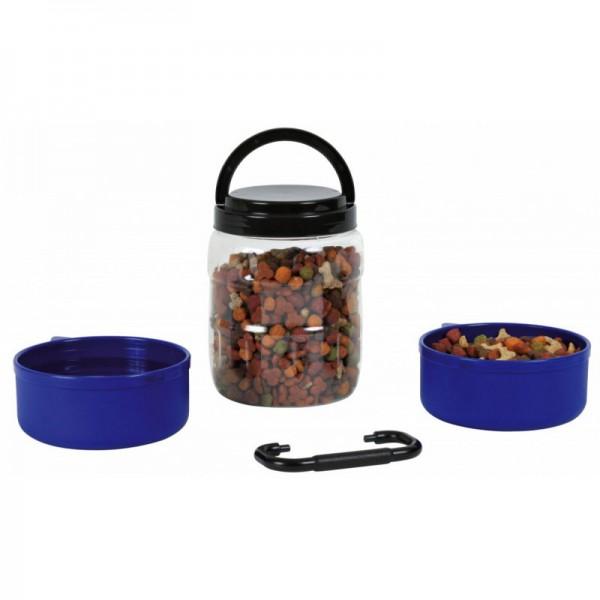 Cestovní plastový zásobník na krmivo 1,75l + 2 misky á 0,65l