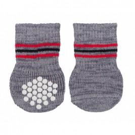 Protiskluzové šedé ponožky, 2 ks pro psy XL